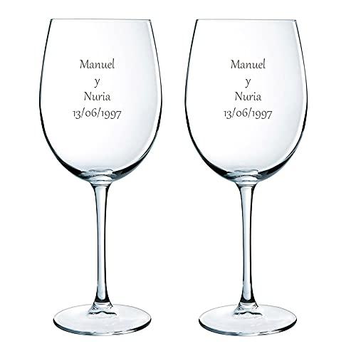 Calledelregalo Estuche de Dos Copas de Vino Personalizadas - Regalo Personalizado para Parejas