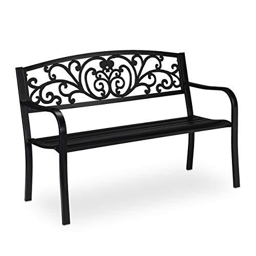 Relaxdays Panca da Giardino per 2 Persone, Stile Antico, Balcone, Arredamento da Esterno, HxLxP: 81x127x56 cm, Nero, 1 pz