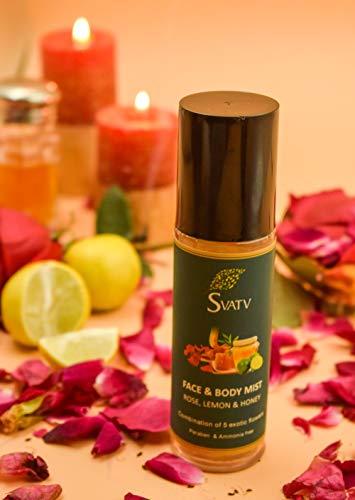 SVATV Face & Body Mist, Spray facial con miel de limón Rosewater y CINCO flores exóticas Tratamiento calmante e hidratante con aloe vera, parabenos y sin amoníaco