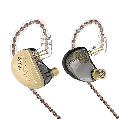 KZ AS12 12ユニット ムービングアイアン イヤホン おと漏れ防止 HIFI低音 カナル型 2Pinリケーブル可能 3.5mmプラグ イヤホン (マイクなし, ゴールド)