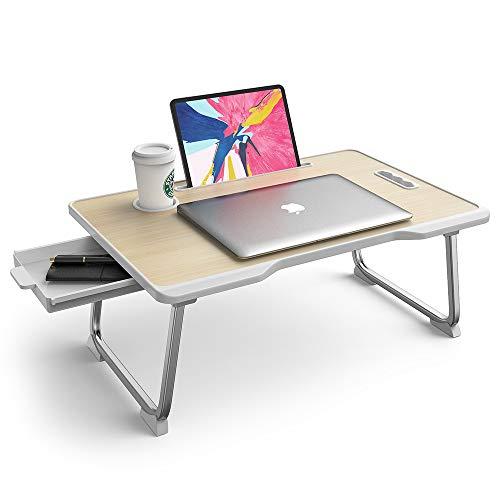 Tavolino per Laptop Elekin Tavolino Pieghevole per Laptop Scrivania Portatile Tavolino per Colazione con Gambe Tavoletta Multifunzione con Portabicchieri per Lletto/Divano /Pavimento (23.6 x 15.7in)