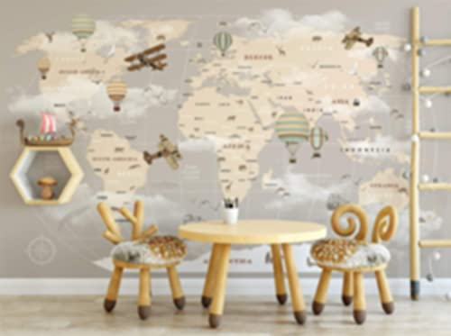 Murwall Kids Map Wallpaper For Child Beige World Map Wall Mural Vintage Map Wall Art Airplane and Hot Air Balloon Wall Print Children Rooms