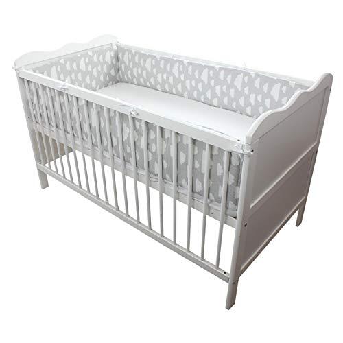 TupTam Babybett Bettumrandung Lang Gemustert, Farbe: Grau Weiße Wolken, Größe: 420x30cm (für Babybett 140x70)