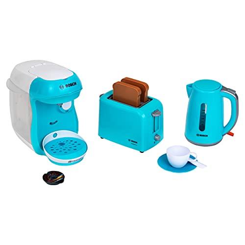 Theo Klein 9519 Zestaw śniadaniowy Bosch I Zestaw sprzętów kuchennych złożony z tostera, ekspresu do kawy i czajnika elektrycznego I Dla dzieci w wieku od 3 lat