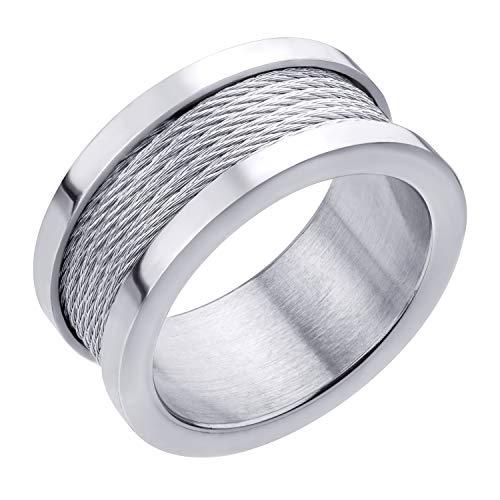 555Jewelry Anillo de acero inoxidable de 10 mm de ancho, cinco filas de cable trenzadas, anillo de boda para hombres, Metal, no conocido,