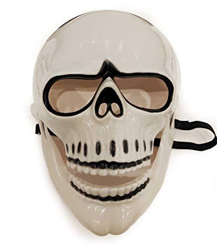 Spectre 007 James Bond Skeleton Mask Day of The Dead Costume Masquerade Scary Halloween Skull Full Face Ghost Mask 9.5' (Black White)