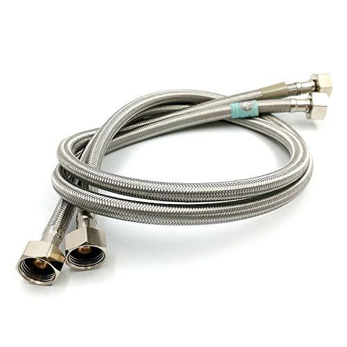 """Par de 1/2""""x 1/2"""" BSP (900mm) cocina lavabo grifo mezclador grifo conector manguera Flexible tubos cola–FBA"""