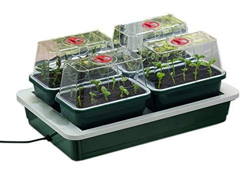 Seedeo® beheizbare Mini-Gärtnerei mit 4 kleinen Gewächshäusern + 2 Liter Anzuchterde + 2 Samenproben (Garland)