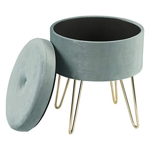 eSituro Sitzhocker Samtstoff Sitzbank mit Stauraum Aufbewahrungsbox Retro Pouf Couch Hocker Sitzmöbel GOLDEN Metallbasis, Türkis