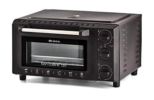 Ariete 912 Bon Cuisine 130 Forno Elettrico Compatto con 3 modalità, 1000 W, 13 Litri, Doppio Vetro, Nero
