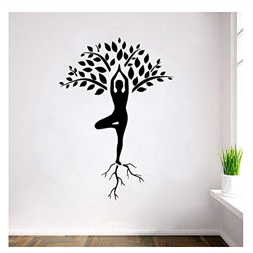 Calcomanías de pared de árbol de yoga de gran tamaño, decoración de arte, meditación de yoga, pegatinas de pared de vinilo, decoración para el hogar, murales de diseño de interiores, 120x84 cm