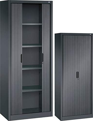 bümö CP Omnispace Rollladenschrank abschließbar inkl. Fachböden - Jalousieschrank Aktenschrank mit Rollladen Büroschrank Schwarzgrau RAL 7021, Höhe: 198 cm | Breite: 80 cm