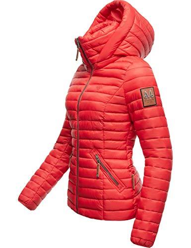 Marikoo Damen Übergangsjacke Steppjacke mit abnembarer Kapuze Löwenbaby Rot Gr. S