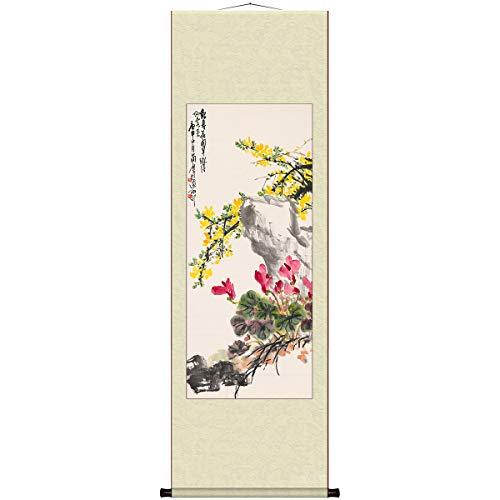 SHOULI Schilderijen Scroll Schilderij Decoratieve Schilderijen, Chinees Ophangzijde, Home Decoration, Vrije Schilderijen, Welkom Spring... 45x150cm