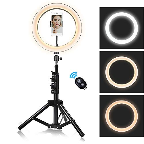 10-inch Ring Light with Stand Adjustable [15-47 inches],Dimmable Camera Lights with Cell Phone...