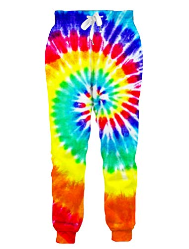RAISEVERN Unisex Sweatpants Colorful Tie-dye Jogging Pants Cool Rainbow Neon Sports Trousers with Drawstring for Men &Women