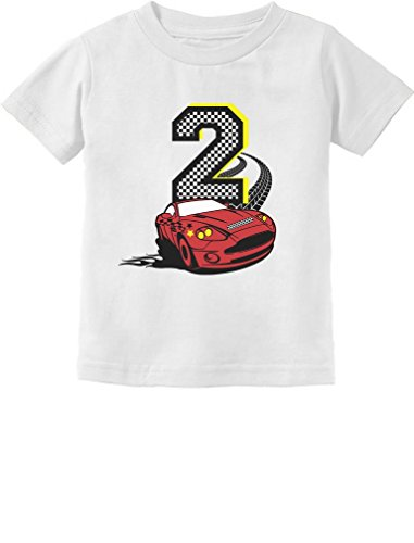 2nd Birthday Race Car Party 2 Year Old Boy Toddler Kids T-Shirt 2T White