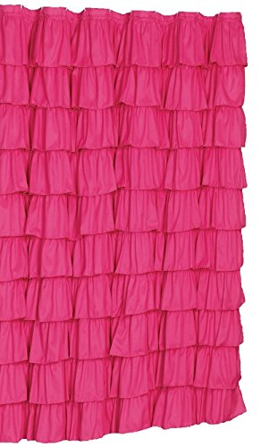spring Home Ruffled Pink Fabric Shower Curtain