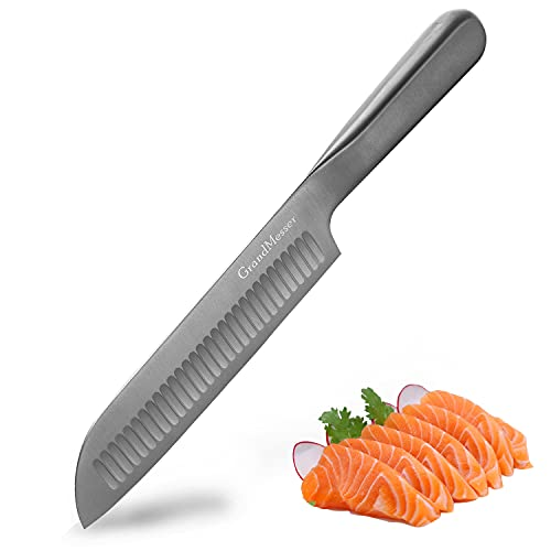 Santoku Knife - GrandMesser 7 inch Japanese Chef Knife - High Carbon Stainless Steel Cooking Knife with Ergonomic Handle and Gift Box