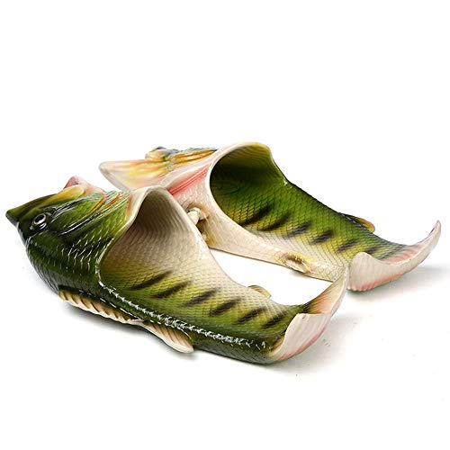 HEEMAA - 4 Colours Fish Slippers Beach Shoes Non-Slip Sandals Creative Fish Slippers Men and Women Casual Shoe (Woman 7-8 / Male 6-6.5, Black)