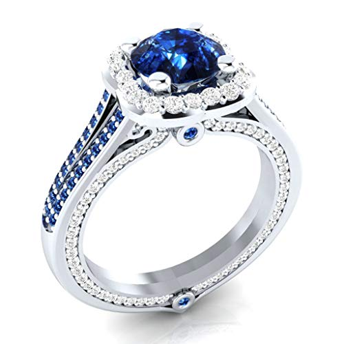 Personalized Diamond Rings for Women,Xjp Fashiom Zircon Female Ring Jewelry Engagement Rings Gift(Blue,7)