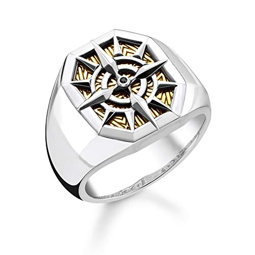Thomas Sabo Unisex-Ring Kompass gold 925 Sterlingsilber gelbgold vergoldet TR2278-849-7-52