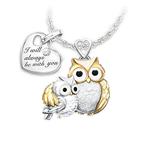 IJKLMNOP 2021 Owl Mother's Day Birthday Gift, Mom Letter Heart Pendant, Mom Necklace with Birthstones for Women Mama Aunt Grandma Mother's Day Birthday Gift