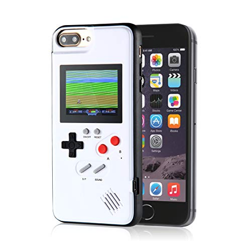 KOBWA Gameboy Case for iPhone, Retro Gameboy Design Style Silicone Cover Case with 36 Small Games, Color Screen,Gameboy Cover for iPhone Xs/X/XSmax/XR/8/8Plus/7/7Plus/6/6Plus (iPhone 6/7/8, White)