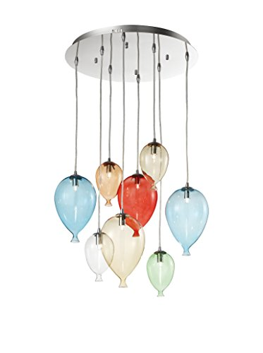 Ideal Lux Clown Sp8 Color Lampada a Sospensione con 8 Luci, Cromo/Vetro, Multicolore