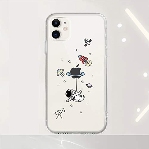 Bakicey Hulle fur iPhone 12 Pro Max Transparent Cartoon Astronaut Muster Stosfest Weiche Silikon Schutzhulle Kratzfest TPU Bumper handyhulle Durchsichtige Case Cover fur iPhone 12 Pro Max D