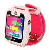 Montre Intelligente pour Enfants étanche avec SOS et Tracker, Grand écran Tactile, Chat Vocal bidirectionnel, Jeux mathématiques, caméra-réveil, Cadeaux d'anniversaire pour garçons et Filles (Pink)