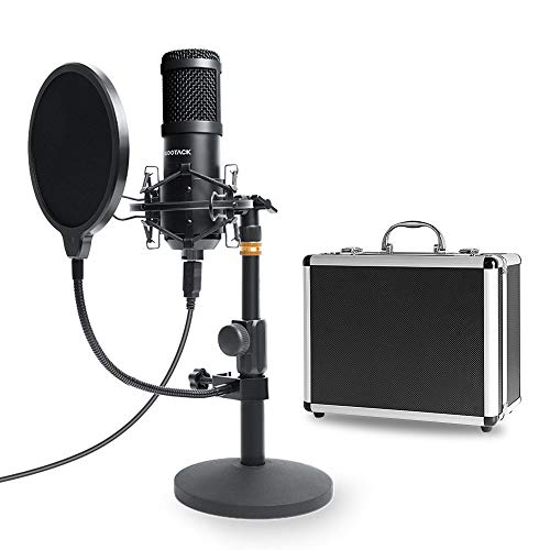 USB Mikrofon Kit mit Aufbewahrungskoffer aus Aluminium, SUDOTACK Professionelles Mikrofon 192KHZ / 24Bit PC Mikrofon mit Soundkarte Boom Arm Shock Mount Pop-Filter für Rundfunk, Youtube,Podcasts uvm