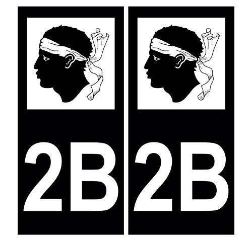 Supstick 2 pegatinas autoadhesivas para placa de matrícula de coche Dept 2B Córcega, color negro