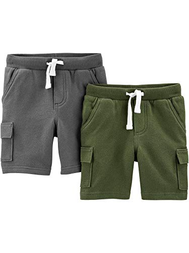 Simple Joys by Carter's Multi-Pack Knit Infant-and-Toddler-Shorts, Marineblau/Olivgrün, 5 Jahre, 2er