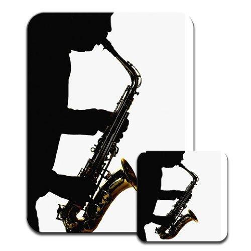 Solo Silhouette d'un homme jouant du saxophone Ensemble tapis de souris et dessous de verre