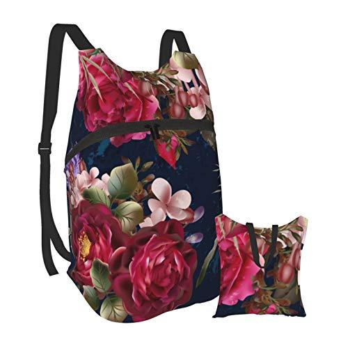 Chic Burgundy Floral On Navy Blue Lightweight Foldable Backpack Packable Hiking Daypack Travel Bag Bookbag