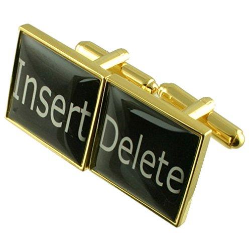 Select Gifts Gold Computer Taste auf der Tastatur einfügen Löschen Neuheit Manschettenknöpfe mit Tasche