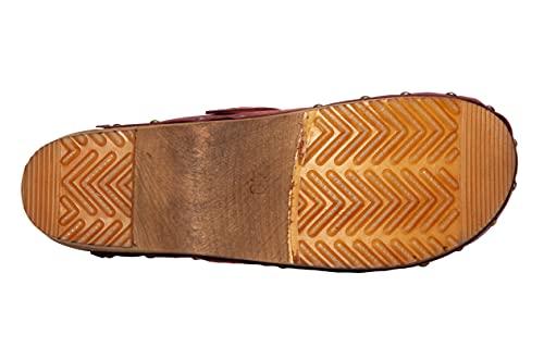 Sanita Kristel | Zuecos Abiertos | Producto Artesanal Original para Mujer | Zuecos de Piel con Suela de Madera | Burdeos Rojo | 40 EU