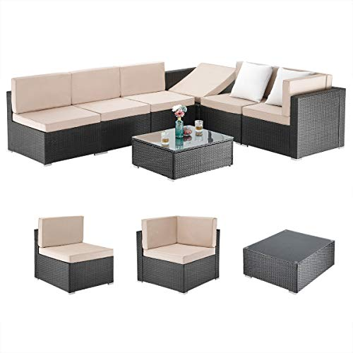 Pamapic 7 Pieces Outdoor Sectional, Wicker Patio Sectional Sofa Conversation Set, Rattan Sofa with Coffee Table and Washable Cushions Covers, Beige