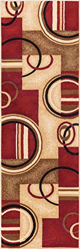 "Well Woven Barclay Arcs & Shapes Red Modern Geometric Area Rug 2'3"" X 7'3"" Runner - Size : 2'3"" X 7'3"" Runner ; Color : Red Material : 100% Polypropylene ; Weave : Machine Made Stain resistant and easy to clean - runner-rugs, entryway-furniture-decor, entryway-laundry-room - 41ll8YxZoXL -"