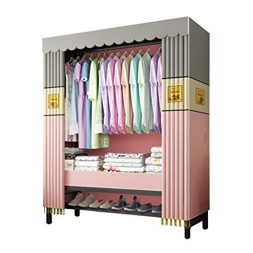 Foldable Closets Kleiderschrank Stoff Regal, Garderobenschrank Campingschrank Faltschrank, Stoffkleiderschrank mit Kleiderstange, 105 * 50 * 20 cm / 138 * 52 * 23 cm