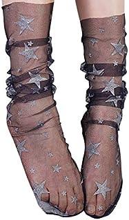 Women's See Through Mesh Loose Socks Glitter Stars Transparent Sheer Slouch Socks Teen Girls Ankle Hosiery (Black+Large Silver Star)