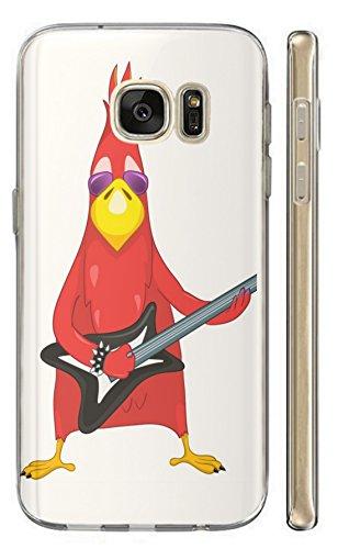Hülle für Samsung Galaxy J7 2016 Hülle Softcase TPU Handyhülle für Samsung J7 2016 Cover Backkover Schutzhülle Slim Hülle (1009 Vogel Bird rot mit Gitarre Cool Rock Angry)