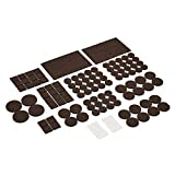 AmazonBasics - Almohadillas de fieltro para muebles, color marrón y transparente, 136unidades