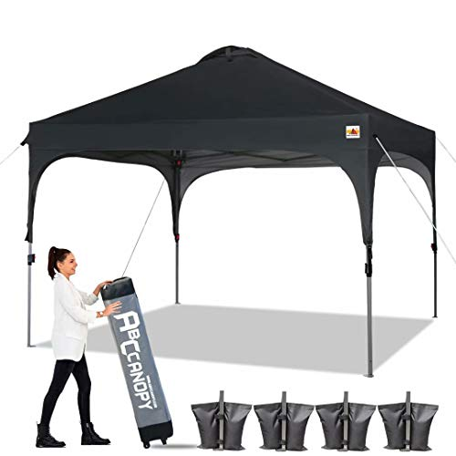 ABCCANOPY Canopy Tent Pop Up Canopy Outdoor Canopies Super Comapct Canopy Portable Tent Popup Beach Canopy Shade Canopy Tent with Wheeled Carry Bag Bonus 4xWeight Bags,4xRopes&4xStakes, Black