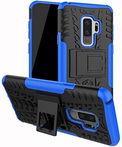 """Capa Capinha Anti Impacto Para Samsung Galaxy S9+ S9 Plus com Tela de 6.2"""" polegadas Case Armadura Hybrid Reforçada Com Desenho De Pneu - Danet (Preto com azul)"""
