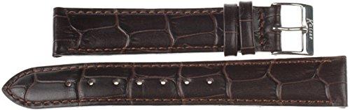 KAISER Kalbsleder mit Alligator-Prägung Uhrenarmband. Wir bieten echtes Leder in Bester Qualität und achten bei der Produktion auf hohe Standards. Dunkelbraun Band Weiss Buckle