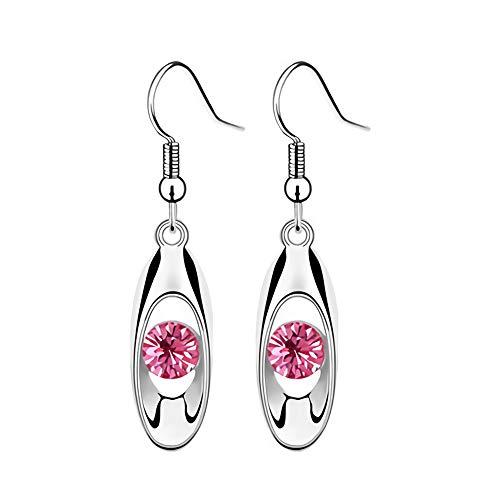 Profusion Cicle 1 Par De Accesorios Simples para Mujer, Pendientes De Gancho De Joyería De Vestido De Gota De Agua De Diamantes De Imitación De Corte Redondo Rosa roja