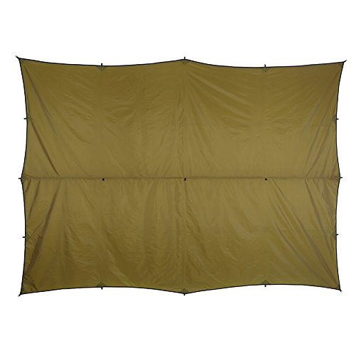 OneTigris All-Season Tarp in Coyote Brown, Waterproof Camping Tarp RipStop Tent Rain Fly 13 by 10ft