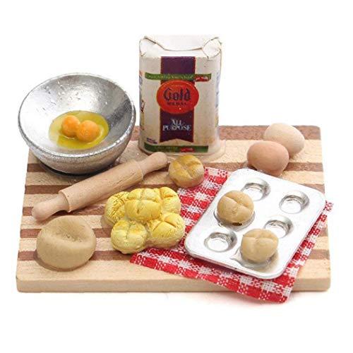 1/12 Puppenstuben Mini Lebensmittel Eier Milch Brot Modell für Miniatur-Bäckerei Dekoration